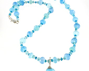 Beaded Necklace with Pendant - Blue Chalcedony - Beaded Necklace - Gemstone