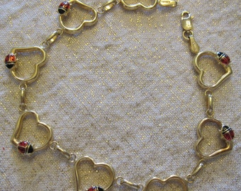 14 KT Gold Lady Bug Heart Bracelet
