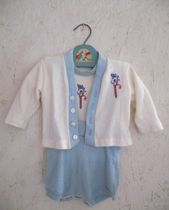 vintage baby clothes 50s baby shorts set stick