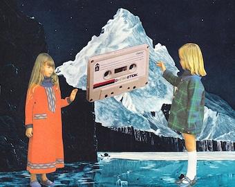 Cassette Girls #1 - Collage Art, Cut and Paste, Paper Collage, Surreal Art, Vintage Ephemera, Art Print, Home Decor