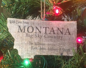 Montana Christmas Ornament Wooden Holiday Decoration, Personalized Wood Christmas Tree Ornament Hand Made Decoration, Western Decor, Gift