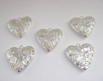 """Heart Lockets Filigree Pendants 25mm (1"""") Silver Plated Hollow Photo Lockets Valentines Jewelry Making Necklace Supplies"""
