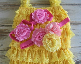 yellow lace romper,yellowbaby romper,baby romper,yellow romper,birthday romper,photoprop romper,baby yellow romper, lace romper,baby rompers