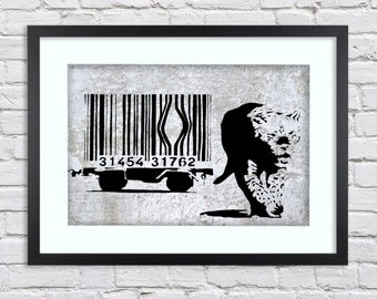 Banksy - Tiger Barcode -  Large Mounted & Framed Poster Art Print A2 - 31 x 24 Inches  ( 75 x 61 cm )