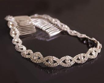 Rose Gold Wedding Headband, Bridal Headpiece, Rhinestone Headband, Hair Tiara, Flower Girl,Hair Jewelry, Bridesmaid, Hair Accessory-HA020