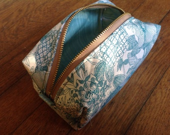 Teal and floral cosmetic box pouch,travel bag,makeup pouch, bathroom organization