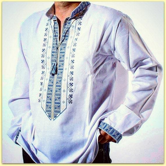 b492c481472 VYSHYVANKA Men s Ukrainian Embroidery shirt homespun cloth PATRIOTIC TRIZUB  Slavic Wedding dress