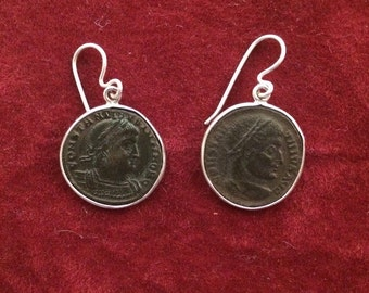 A pair of authentic Roman Empire bronze coins set in sterling silver ear-rings