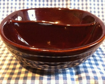 Marcrest Stoneware Divided Bowl/Daisy Dot Stoneware Bowl/Vintage Stoneware/Brown Stoneware Bowl