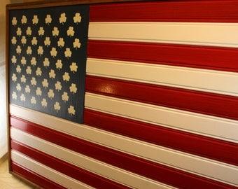 Reclaimed wood American Flag with 50 Shamrocks