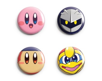 Kirby's Dreamland Pins 4 Designs (Kirby, Metaknight, King Dedede, Waddle Dee)
