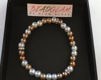 Elegant Bronze, Cream & White  Beaded Stretch Bracelet