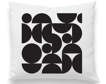Super Fun Half Circles pillow White and Black