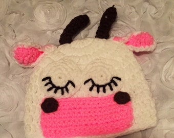 Adorable Cow Beanie  For Baby Handmade 0-2T