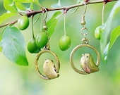 birds earrings Brass earrings birds jewelry  gold earrings Best Gift for friend Summer celebrations