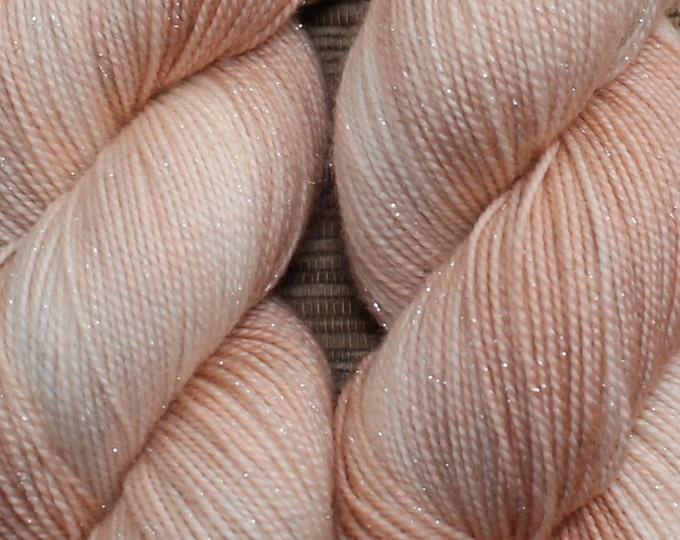Hand dyed yarn - 100g Shimmer Extrafine Merino -  fingering weight (4 ply) in 'Blush' - With free cowl pattern