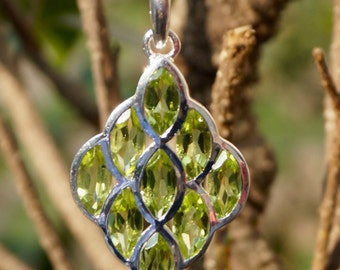 Sterling Silver 92.5% Pendant Natural Gemstone Peridot 1.53 x 0.80 inches (e561)