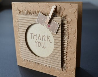 "Square handmade ""Hearts and Craft"" thank you greetings card"