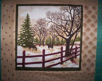1 quilt block or pillow top snow scene fence horses machine made