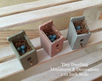 Miniature Dollhouse Bidhouse, Miniature Birdhouse, Miniature Bird Nest, Miniature Gardening, Miniature Orinithology