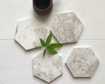 New***   Hexagon Marble Coasters. Silver Oyster Hexagon Marble. Geometric Marble. Set of 4, Set of 6.