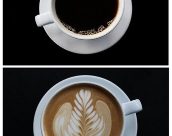 Coffee Art Print Set. Black Drip Coffee or Latte Art. Cafe. Coffee Photography. Coffee Wall Art. Coffee Decor.