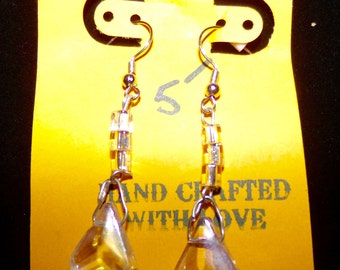 Handcrafted earrings, with upcycled chandelier crystals.