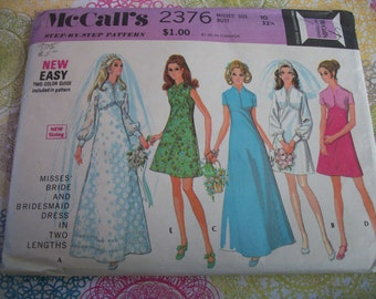 Vintage 1970's McCall Pattern Misses Bride and Bridemaids Dress - 2376 - 15 Pieces(Previously Cut) With Instructions -  intermediate Level