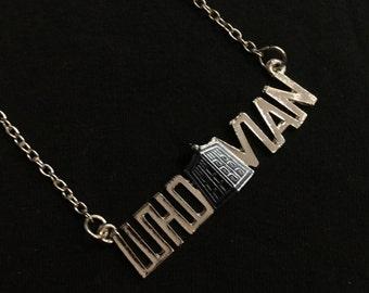 50% OFF SALE - WHOVIAN, Doctor Who Tardis necklace, silver pendant, Fandom