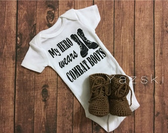 Crochet newborn military combat boots with one piece my hero wears combat boots