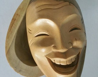 Unique woodcarved face box! Theatre face mask Face shaped lid wooden box