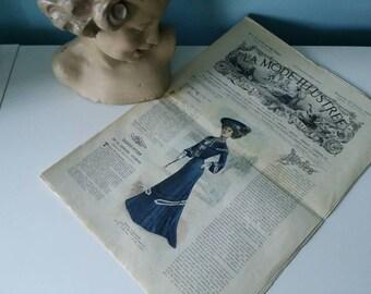 Antique French fashion magazine La Mode Illustree 22 February 1903