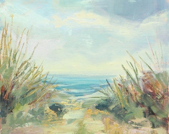 Landscape painting, Original Oil Painting of Sand Dunes, Beach, Seaside, Shore, Square painting 40x40cm (16x16in)