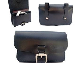 EL BURRO fuerte leather belt bag Fanny Pack Black