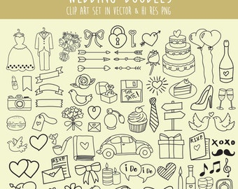 Wedding Doodle Clipart, Doodle Wedding Clipart, Clip Art PNG & Vector EPS AI Design Element Digital Instant Download