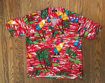 Vintage Short Sleeve Button Up Shirt Hawaiian Shirt - Large