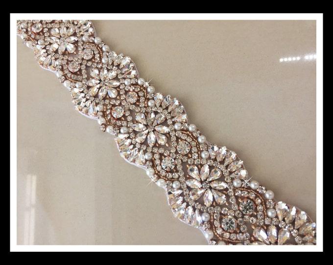 Rose Gold Pearl Beaded Rhinestone Trim (Swarovski Shine) #01119