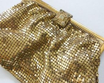 Vintage 1940's Whiting & Davis Gold Mesh Clutch, Evening Bag, Small Purse, Bridal, Coin Purse