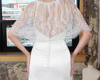 French Lace Capelet, Bridal Lace Top, Wedding Cape, Lace Bolero Jacket, Wedding Bolero, Bridal Shrug, White Wedding Bolero, Lace Jackets