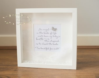 Memorial Lost Loved One/Stillbirth Baby Angel Heaven Frame Butterfly and Feather Detail