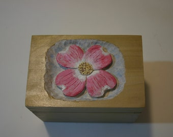 Hand carved note card file box
