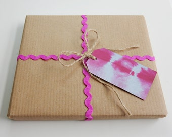 Gift Tags - Pack of 6 Handmade Pink Tie Dye, Shibori Gift Tags