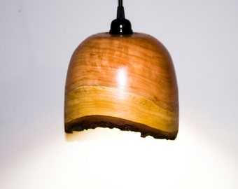 Handturned Cherry Pendant Light with Brown Swag Fixture