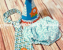 Little Monster Cake Smash Outfit Teal Orange Lime First Birthday Party Photo Prop Outfit