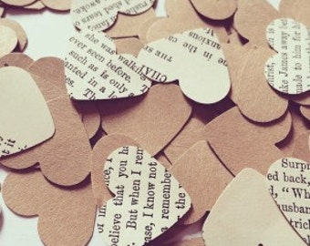 Vintage Heart Confetti - Rustic Wedding Party or Bridal Shower Confetti, Table Decorations