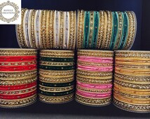 Elegance Range Bangle set - Gold, Metal & Fabric | Indian bracelet | Chura | Metal bangles | Bollywood bangles | Elegance