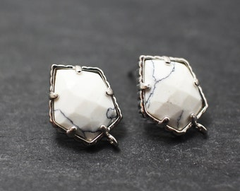 E0029/Anti-Tarnished Rhodium Plating Over Brass+Sterling silver post /Genuine White Marble Pentagonal earrings/16x10mm/2pcs
