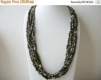 ON SALE Vintage 1960s Long Olive Gray Cream White Stone Clay Beads Necklace 81216