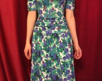 80's Multi color floral dress, with a drop waist.