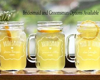 6 Mason Jar Mugs - Wedding Glasses - Drinking Glasses - Wedding Party Personalized Mugs Handle - Bridesmaid Mason Jars - Groomsman Mason Jar